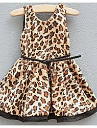 preiswerte -Mädchen Kleid Festtage Lässig/Alltäglich Punkt Leopard Polyester Herbst Ärmellos Einfach Khaki