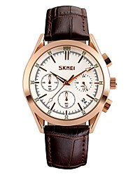 cheap -SKMEI Men's Quartz Sport Watch Japanese Calendar / date / day Water Resistant / Water Proof Large Dial Casual Watch Genuine Leather Band