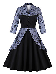 cheap -Women's Party Going out Vintage Casual Sheath Swing Dress,Print Patchwork Shirt Collar Knee-length 3/4 Sleeve Cotton Winter Fall Mid Rise
