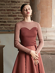 economico -T-shirt Da donna Per uscire Vintage Romantico Inverno Autunno,Monocolore Rotonda Cotone Maniche lunghe Medio spessore