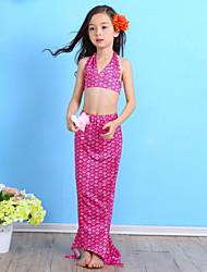 cheap -Girls' Print Cartoon Swimwear, Nylon Blue Green Fuchsia