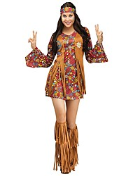 cheap -Vintage 1970s Hippie Costume Women's Party Costume Coffee Vintage Cosplay Polyester Long Sleeves Bell Short / Mini Above Knee