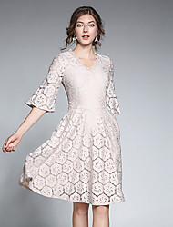 cheap -Women's Daily Casual Lace Dress,Solid V Neck Above Knee Half Sleeve Polyester Spring Summer Mid Rise Inelastic Thin
