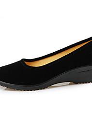 Недорогие -Жен. Обувь Флис Весна / Осень Мокасины На плокой подошве Туфли на танкетке Круглый носок Черный
