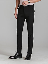 cheap -Men's Mid Rise >75% Business Pants, Street chic Solid Nylon Spandex All Seasons