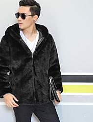 メンズ お出かけ カジュアル/普段着 冬 秋 ファーコート,ストリートファッション スクエアネック ソリッド レギュラー フェイクファー 長袖