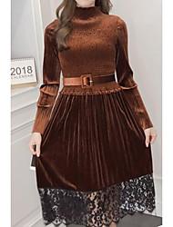 economico -Tubino Vestito Da donna-Per uscire Attivo Moda città Tinta unita Rotonda Medio Maniche lunghe Cashmere Cotone Modal Autunno A vita