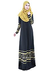 abordables -Ethnique et Religieux Jalabiya Robe caftan Abaya Robe Arabe Femme Fête / Célébration Déguisement d'Halloween Noir Couleur Pleine Style