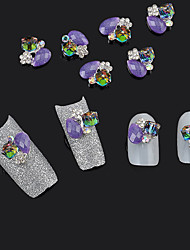 cheap -10pcs 3D Alloy Cube Jewelry Purple Glitter Rhinestone Nail Art Tips Decoration