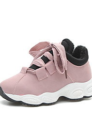 cheap -Women's Shoes Tulle PU Winter Fall Sneakers Walking Shoes Platform Creepers Lace-up Split Joint for Casual Black Gray Pink