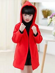 preiswerte -Mädchen Anzug & Blazer Solide Polyester Langarm Einfach Niedlich Rote Rosa Grau