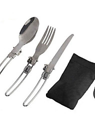 cheap -3 Pcs/Set Outdoor Stainless Steel Tableware Stainless Steel Folding Spoon Fork Knife
