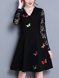 cheap -Women's Party Going out Cute Street chic A Line Lace Dress,Print Patchwork V Neck Above Knee Long Sleeve Polyester Spandex Spring Fall