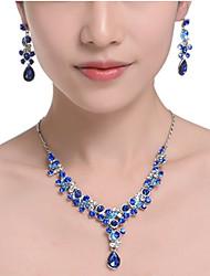 baratos -Mulheres Conjunto de jóias - Caído Doce, Elegante Incluir Vermelho Rosa / Azul Para Aniversário / Brincos