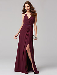 cheap -A-Line V Neck Floor Length Chiffon Formal Evening Dress with Sash / Ribbon Criss Cross by TS Couture®