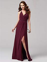 abordables -Corte en A Escote en Pico Hasta el Suelo Raso Evento Formal Vestido con Cinta / Lazo En Cruz por TS Couture®