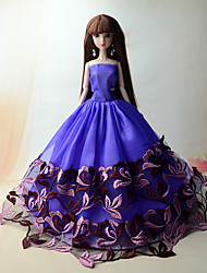 cheap -Party/Evening Dresses For Barbie Doll Floral Purple Princess Dress For Girl's Doll Toy