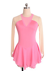 cheap -Figure Skating Dress Women's / Girls' Ice Skating Dress Pink Spandex Inelastic Performance / Practise Skating Wear Solid Colored Long