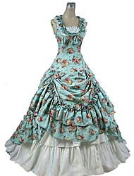 cheap -Gothic Lolita Dress Victorian Women's One Piece Dress Skirt Outfits Cosplay Blue Floral Cap Sleeveless Ankle Length