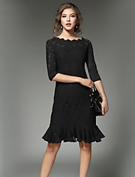 cheap -SHE IN SUN Women's Vintage A Line Dress - Solid Colored Lace