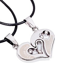 cheap -Couple's Heart Stainless Steel Leather Pendant Necklace - Fashion Korean Heart Necklace For Wedding Valentine