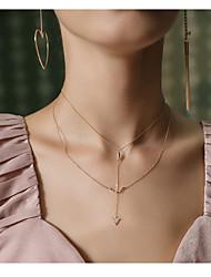 abordables -Femme Forme Géométrique Forme Double couche Mode Collier multi rangs , Alliage Collier multi rangs Soirée Fête scolaire