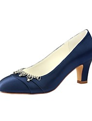 cheap -Women's Shoes Stretch Satin Spring Fall Basic Pump Wedding Shoes Chunky Heel Round Toe Crystal for Party & Evening Dress Dark Blue Black