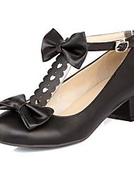 preiswerte -Damen Schuhe Kunstleder Frühling Sommer Pumps High Heels Blockabsatz Runde Zehe Schnalle für Normal Kleid Schwarz Beige Rosa