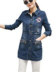 cheap -Women's Daily Casual Spring Fall Denim Jacket,Print Shirt Collar Long Sleeve Short Cotton Polyester Jacquard