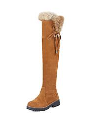 Feminino Sapatos Courino Inverno Outono Botas da Moda Botas Salto Robusto Ponta Redonda Botas Acima do Joelho Presilha para Casual Social