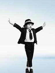 preiswerte -Michael Jackson Retro 1980er Kostüm Jungen Party Kostüme Schwarz Vintage Cosplay Polyester Langarm Bischof Knöchel-Länge Lolita