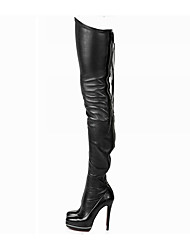 cheap -Women's Shoes PU Fall Slouch Boots Boots Stiletto Heel Pointed Toe Thigh-high Boots for Casual Black