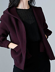 Women's Casual/Daily Simple Short Cardigan,Solid Hooded Long Sleeves Nylon Winter Fall Opaque Micro-elastic