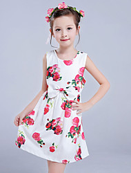 cheap -Girl's Daily Holiday Floral Dress,Polyester Spring Summer Sleeveless Cute Princess White