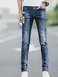 Masculino Simples Cintura Média Micro-Elástica Jeans Chinos Calças,Sólido Outono