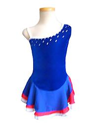 abordables -Robe de Patinage Artistique Femme / Fille Patinage Robes Bleu Spandex Non Elastique Utilisation / Exercice Tenue de Patinage Couleur