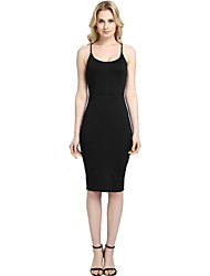cheap -Women's Party Club Vintage Casual Sexy Bodycon Sheath Dress,Solid Strap Knee-length Above Knee Sleeveless Rayon Polyester Spandex All