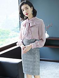 baratos -Mulheres Moda de Rua Blusa - Laço / Chifon, Sólido Cintura Alta Saia Colarinho Chinês