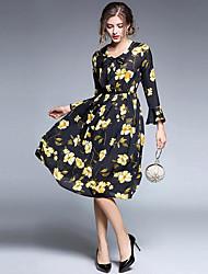Для женщин На каждый день Простой Оболочка Платье Цветочный принт,Круглый вырез До колена Длинные рукава Органза Осень Со стандартной
