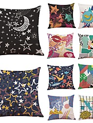 cheap -10 pcs Linen Pillow Cover,Geometric Art Deco Color Block