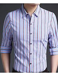 メンズ カジュアル/普段着 秋 シャツ,ストリートファッション シャツカラー ストライプ コットン 長袖 ミディアム