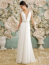 cheap -A-Line Plunging Neckline Floor Length Chiffon Lace Wedding Dress with Crystal Lace Sash / Ribbon Bow Button by LAN TING BRIDE®