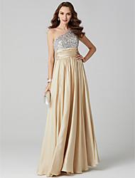 levne -Plášť / sloupek jedno rameno podlažní délka saténové šifónové šaty na ples s drapáním ts couture®