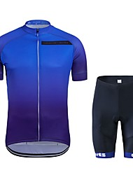 cheap -Wisdom Leaves Short Sleeves Cycling Jersey with Shorts - Dark Blue Bike Clothing Suits, Quick Dry