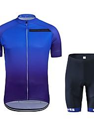 cheap -Cycling Jersey with Shorts Unisex Short Sleeves Bike Clothing Suits Bike Wear Quick Dry Geometric Cycling / Bike Dark Blue