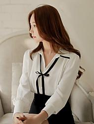 cheap -Women's Work Street chic Cotton Shirt - Solid Colored Shirt Collar
