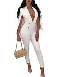 abordables -Femme Grandes Tailles Combinaison-pantalon - Ouvert, Couleur unie V Profond