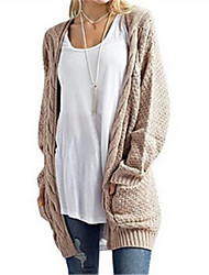 cheap -Women's Daily Solid V Neck Cardigan, Long Sleeves Winter Fall