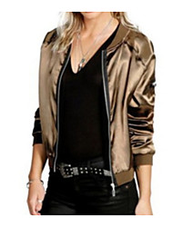 cheap -Women's Cotton Jacket - Solid Colored, Oversized V Neck / Fall / Satin