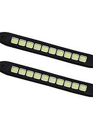 cheap -2pcs COB Day Lights Soft DRL Fog Light Universal High Power White/Ice-blue Color Car Auto Flexible LED Daytime Running Light Automobiles DC12V